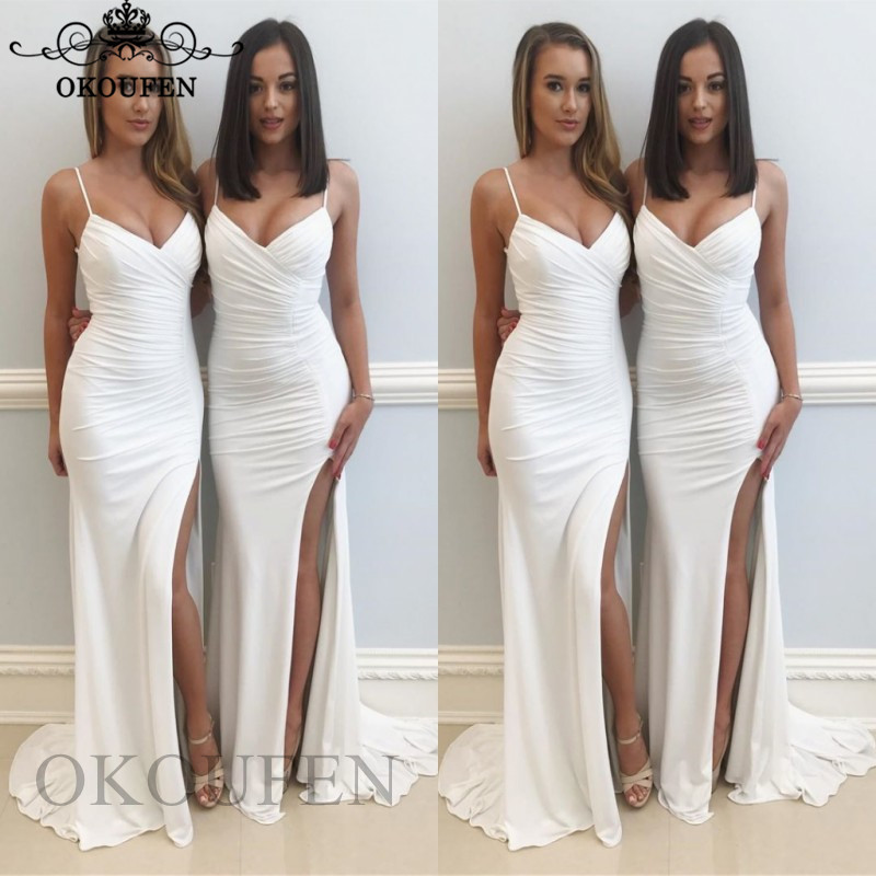 Sexy Spaghetti Strap   Bridesmaid     Dresses   For Women White Chiffon 2019 Vestido Madrinha Long Maid Of Honor   Dress   Party Gown