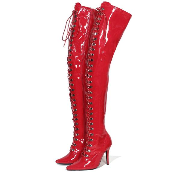 2018 winter red black white boots pointed toe lace up thigh high boots sexy high heels shoes women Patent leather Elastic boots red off shoulder lace up elastic waistband casual co ords