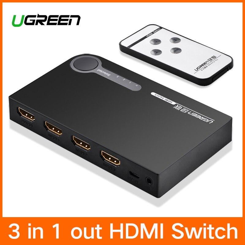 Ugreen HDMI 3 Puertos HDMI Switch Conmutador de Splitter HDMI Puerto 1080 P 3 Adaptador de entrada 1 de Salida 4 K para XBOX 360 PS4 PS3 Android HDTV