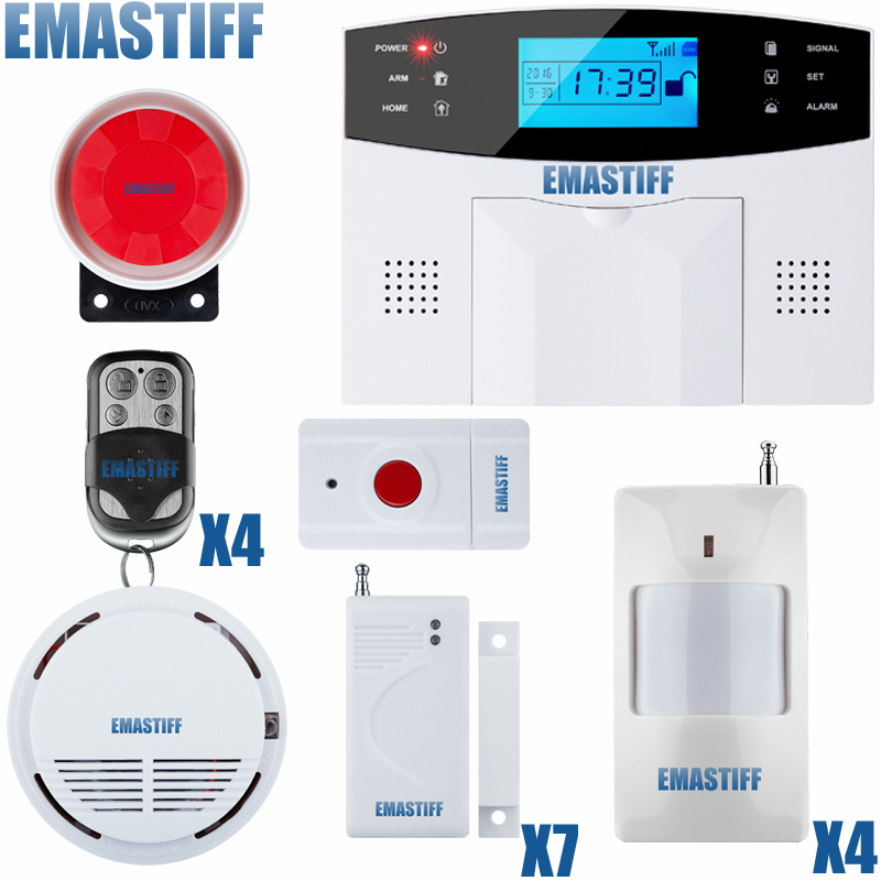 Hot selling intercom home Security GSM alarm system with Russia voice version 850/ 900/1800/1900Mhz+Fire detector+panic button hot selling high quality water leakage detector with 2pcs motorized ball valve hot selling in russia ukraine east asia country