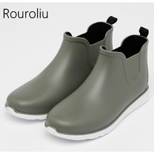 Comfortable Fishing Rainboots Men PVC Waterproof Water Shoes Wellies Non-Slip Casual Ankle Rain Boots 3 Colors RT176