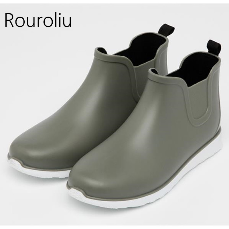 Devoted Rouroliu Men Autumn Footwear Safety Fishing Rainboots Pvc Waterproof Water Shoes Man Wellies Non-slip Ankle Rain Boots Rt176 Back To Search Resultshome