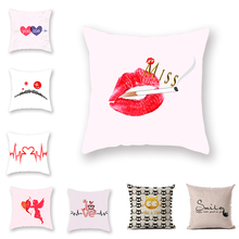 Sweet Valentines Day Cushion Cover Miss Red Lips Home Accessories covers decorative Pillowcase Pink Square Set of Living