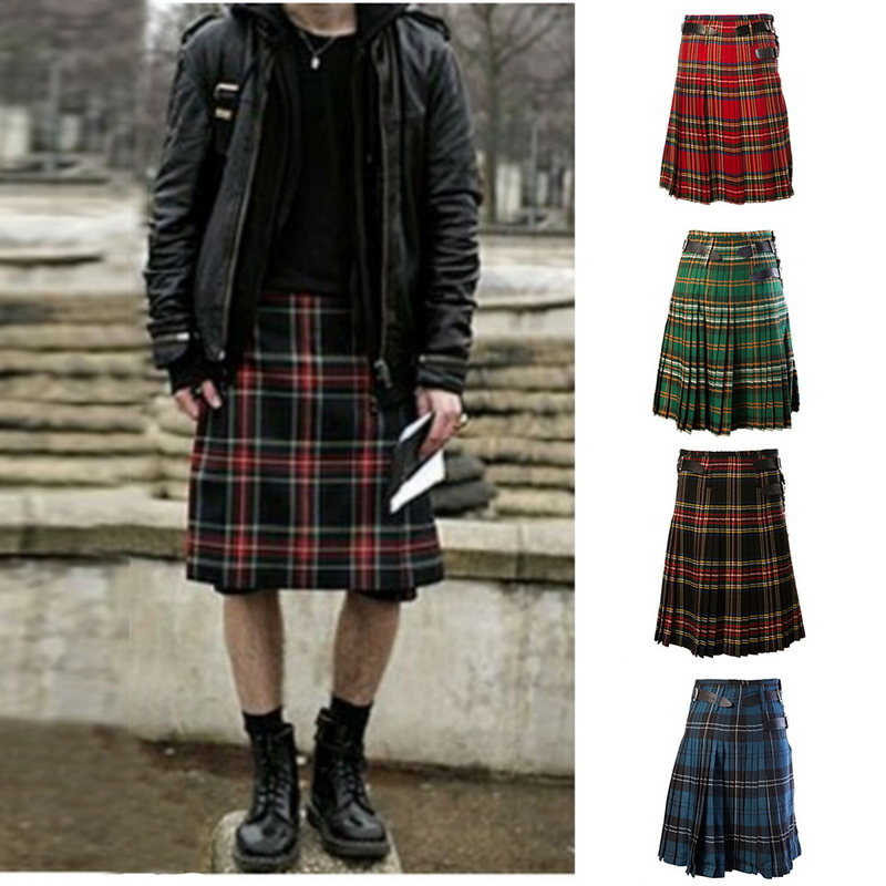 SHUJIN Skirts Trousers Belt Chain Pleated Scottish Tartan Mens Kilt Punk Plaid Brown