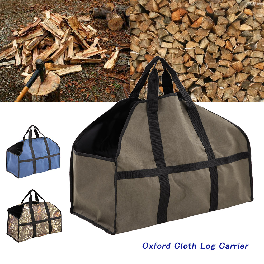 outdoor camping large wood bag oxford cloth bag log carrier tote