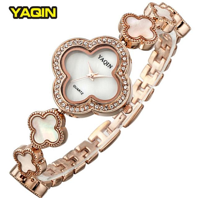 YaQin2017 Verão Pulseira Da Moda Mulheres Relógio Casual Relógios de Quartzo Flor Strass Relógios Relogios Femininos Wristwatches6173
