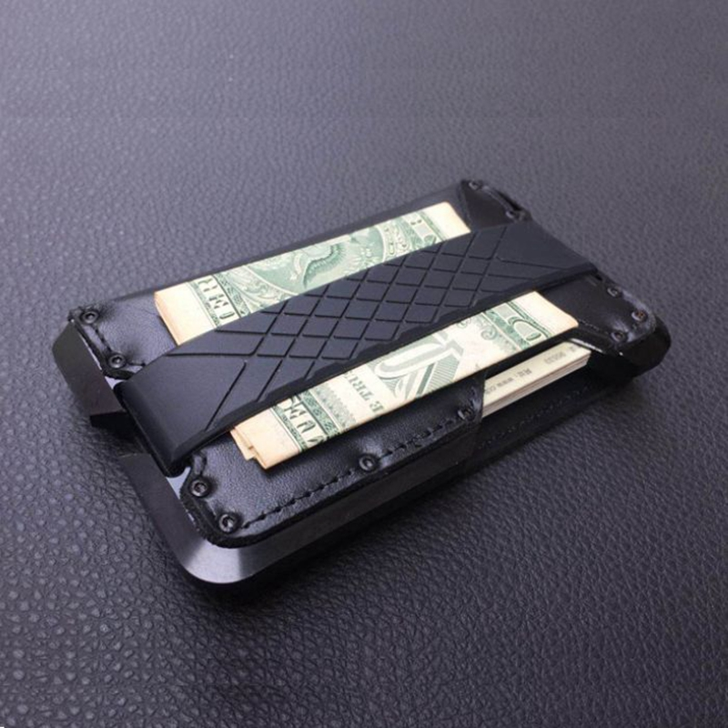 Metal Clip Aluminum Front Pocket Minimalist Card Holder Genuine Leather Multi-function RFID Wallet Tactical Army Fans Equipment