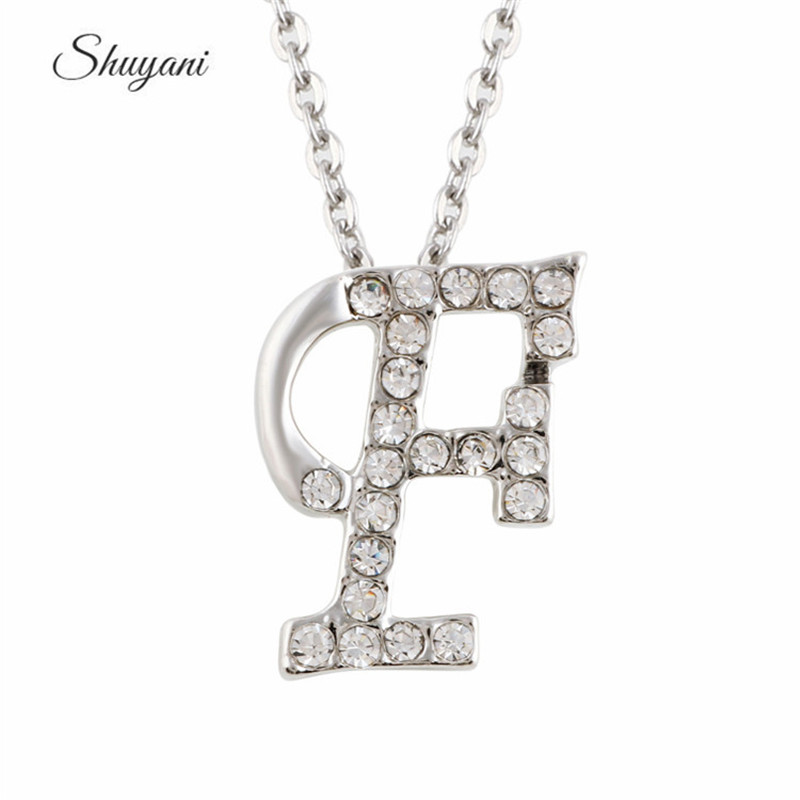 New Fashion Clear Crystal Letter F Charm Pendant Fashion Engagement Choker  Necklace Women(China (