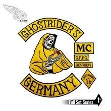 Mc1931 7 יח\סט GHOSTRIDERS גרמניה רקום תיקון ברזל על לתפור על חזרה אופנוען רוכב תיקון עבור מעיל אפוד משלוח חינם