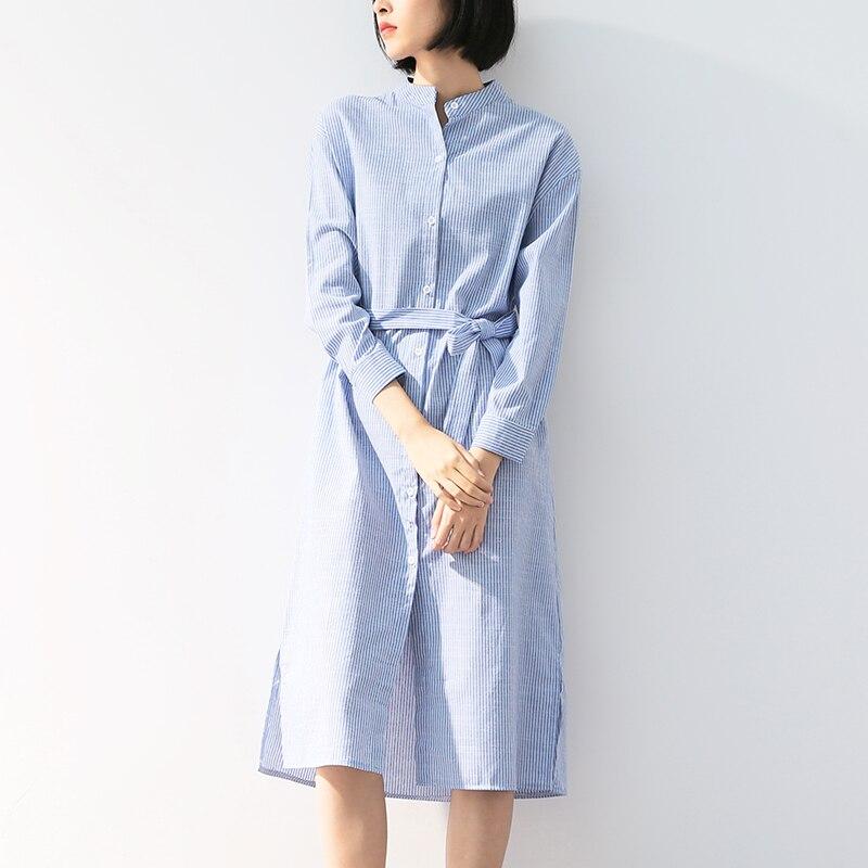 Womens Shirt Dress Ladies Stripe Side Split Button Down Long Sleeve Collared Top