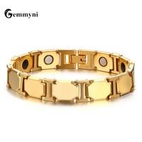 2017 Luxury Mens Magnetic Bracelets Bangles Gold Color Natural Stone Titanium Magnet Bio Wide Chain Health