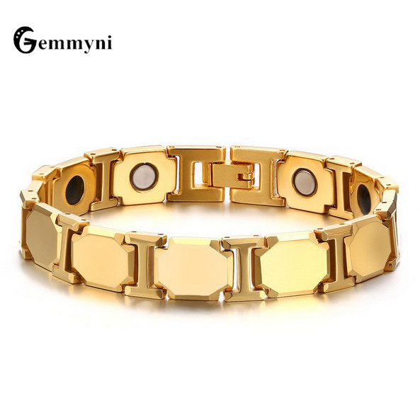 2017 Luxury Mens Magnetic Bracelets Bangles Gold Color Natural Stone Titanium Magnet Bio Wide Chain Health Jewelry Accessory