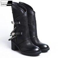 2018 зимние женские винтажные повседневные ботинки до середины икры на толстом каблуке и платформе с заклепками, женские уличные рыцарские с