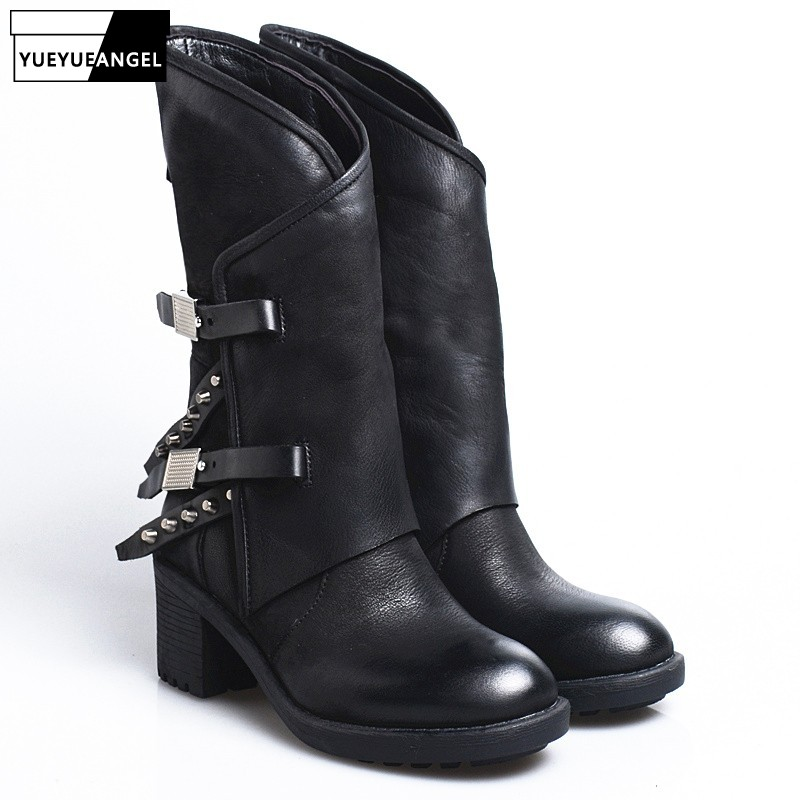 2019 Winter Women Thick Heel Platform Rivet Vintage Casual Mid Calf Boots Women Street Punk Sheepskin Round Toe Knight Boots2019 Winter Women Thick Heel Platform Rivet Vintage Casual Mid Calf Boots Women Street Punk Sheepskin Round Toe Knight Boots
