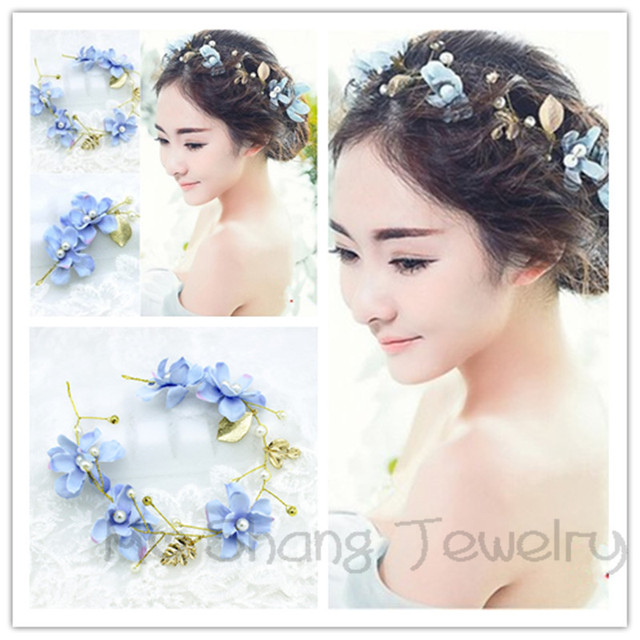 Blue Orchid Flower Crown Wedding Headpiece Leaf Floral Head Wreath Bridal  Hair Band Grecian Leaf Hair Accessories 696954c6df0