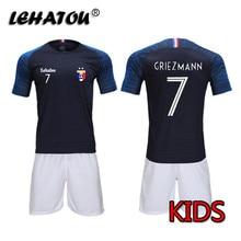 ab452b613fc Boys Soccer Jersey France Boy Football Sets Girl Soccer Sports Shirts  MBAPPE GRIEZMANN POGBA Child Polyester