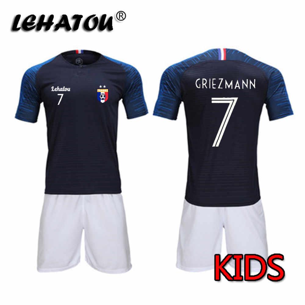 acb4c9ce3 Boys Soccer Jersey France Boy Football Sets Girl Soccer Sports Shirts  MBAPPE GRIEZMANN POGBA Child Polyester
