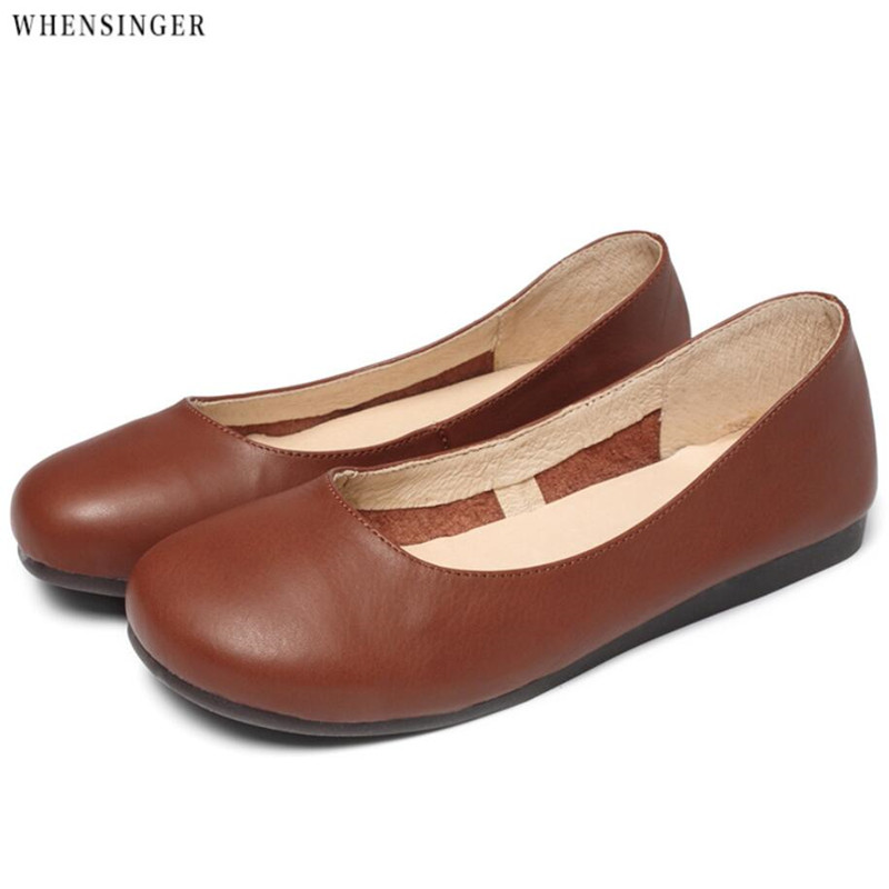 Whensinger spring summer Genuine Leather Ballet Flats Women Flat Shoes Ladies Girls Ballerina Female Heel Slip on Office Shoes