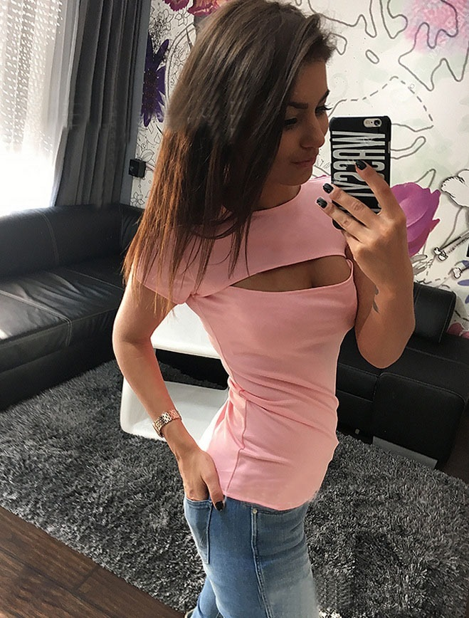 Chest Hole Open Short Sleeve T-shirts Summer Slit Sexy Hole Lovers Party Sexy Club Solid Newest Cloth O-neck Women Casual Tee