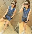 2016 fashion women sexy V-ncek denim jumpsuit sleeveless vest jeans romper elegant bodycon casual shorts overalls with blet