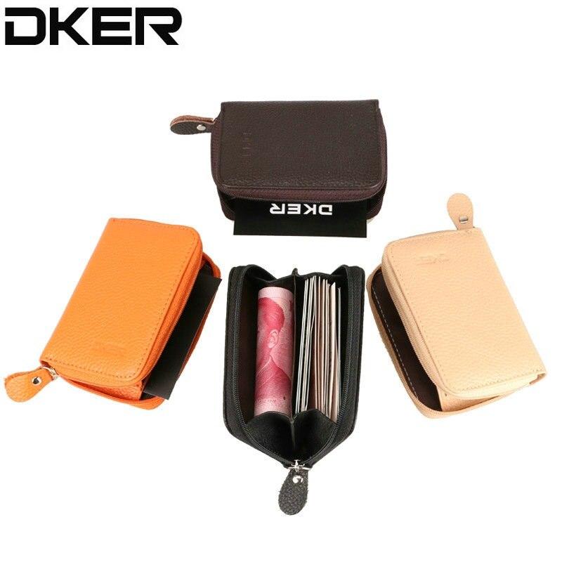 DKER Genuine Leather Coin Purse For Women & Men Zipper Small Purse Short Coin Wallets Brand Mini Wallet