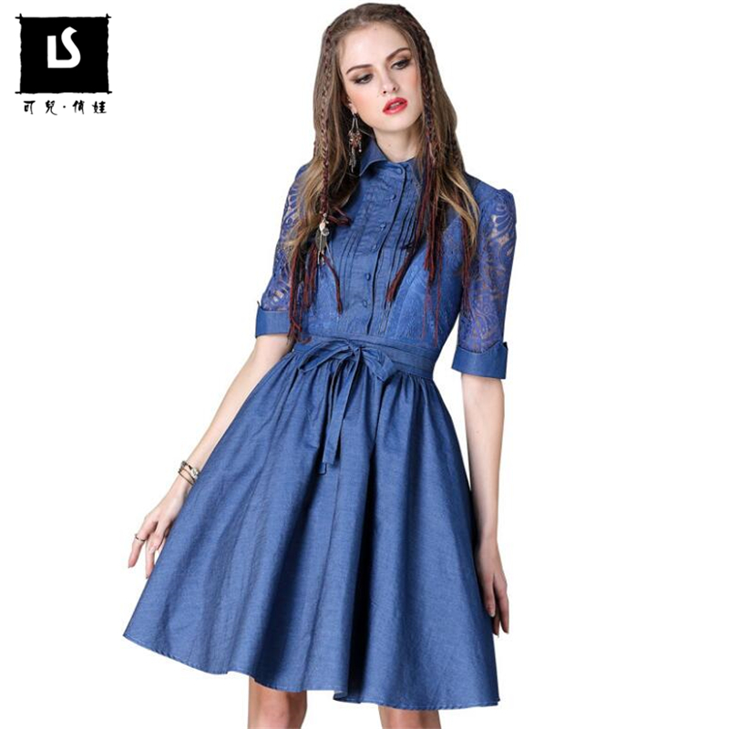 Vintage Women Dress Spring Summer Slim denim Dress New Half sleeves Plus Size Fashion sexy hollow