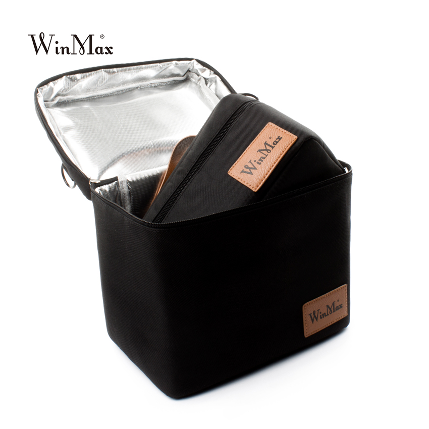 Winmax Picnic Bag Insulated Thermo Cooler 2 sets pizza Cakes delivery black Bags Box Thermal Bags for Food basket Tote Handbags