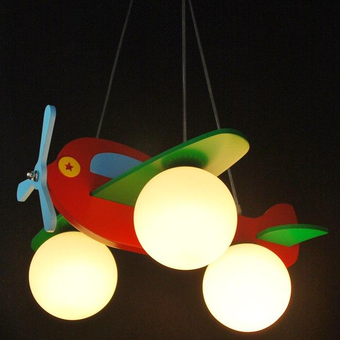 Dessin animé bois et verre avion enfants chambre à coucher plafonnier lampe de jardin d'enfants