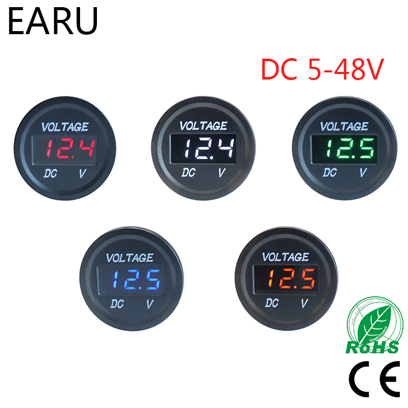 Mini Digital Voltmeter DC5V-48V Waterproof Auto Boat Car Styling Motorcycle LED Panel Volt Voltage Meter Tester Monitor Display