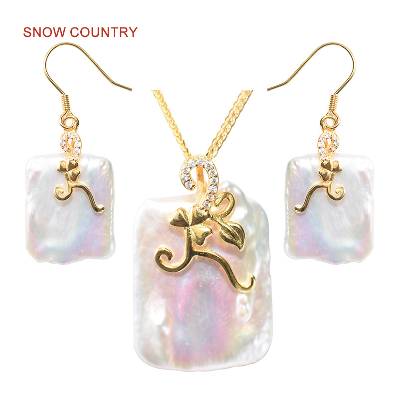 SNOW COUNTRY Retro Design Fashion Jewelry Set Real Freshwater Pearls S925 Earrings Necklace Unique Pendent For Women Factory Out a suit of retro carving hollow out bead tassel necklace and earrings for women