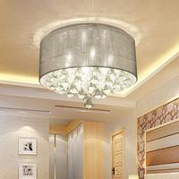 Modern deluxe Classic Round Crystal Ceiling Light Drum Fabric Lamp Ceiling Lamp Textile Screen Jute Fabric Lampshade 45CM