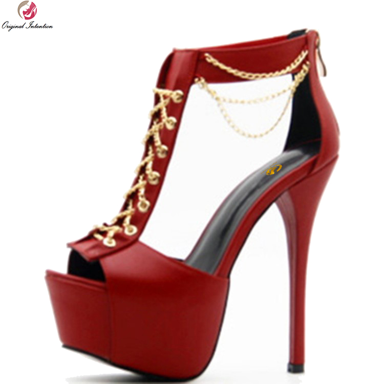 Original Intention Sexy Women Sandals Popular Chain Open Toe Thin Heel Sandals Fashion Wine Red Shoes Woman Plus US Size 4-10.5 сумка pigi 4644 pg ex9f7fwf