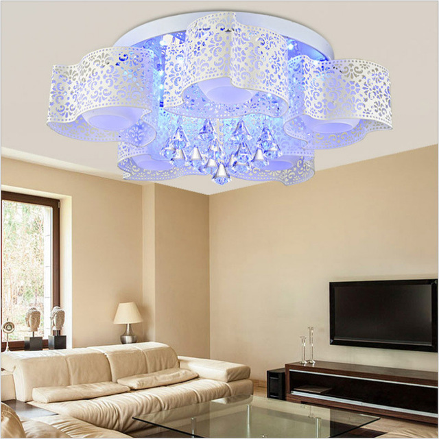 Modern Ceiling Lamp Romantic Wedding Room Bedroom Lamp Wrought Iron LED  Lights Bedroom Crystal Light Led