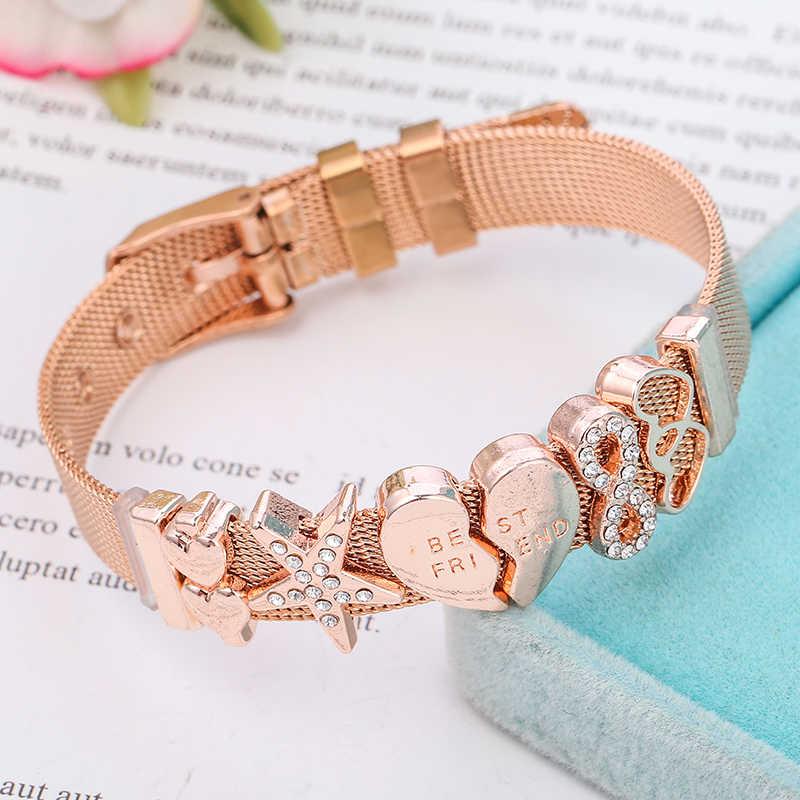 BAOPON wysokiej jakości bransoleta ze stali nierdzewnej siatki z najlepszym przyjacielem kryształ urok dobra bransoletka bransoletka jako przyjaciel kobiet prezent