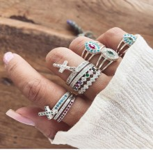 New fashion bohemian style ring set ladies national wind cross inlaid multicolor gem party party anniversary gift accessories retro faux gem inlaid wedding anniversary jewelry