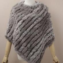 Настоящее Вязаное пончо из кроличьего меха, шарфы для женщин, натуральный кроличий мех, шаль, треугольная накидка