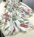 2015 diseñador de moda de Lujo bufandas de la impresión floral de la bufanda mujeres de la marca famosa de algodón con flores elegantes