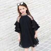 2017 Yaz Kız Şifon Elbise Siyah Şeffaf Gençler Büyük Bebek Kız sevimli Fırfır Kollu Yaş için 5678910 11 12 13 14 Yıl eski