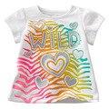 2017 Nova Roupa Dos Miúdos Crianças Meninas Algodão Verão Camisetas Roupa Do Bebê de Manga Curta T-shirt T-shirt Encabeça Roupas Infantis De Menina