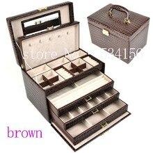Grande de lujo de 4 capas de cuero marrón caja de joyas pendiente joyas caja de presentación caja de regalo regalos de boda (28. * 20*19.5 cm)
