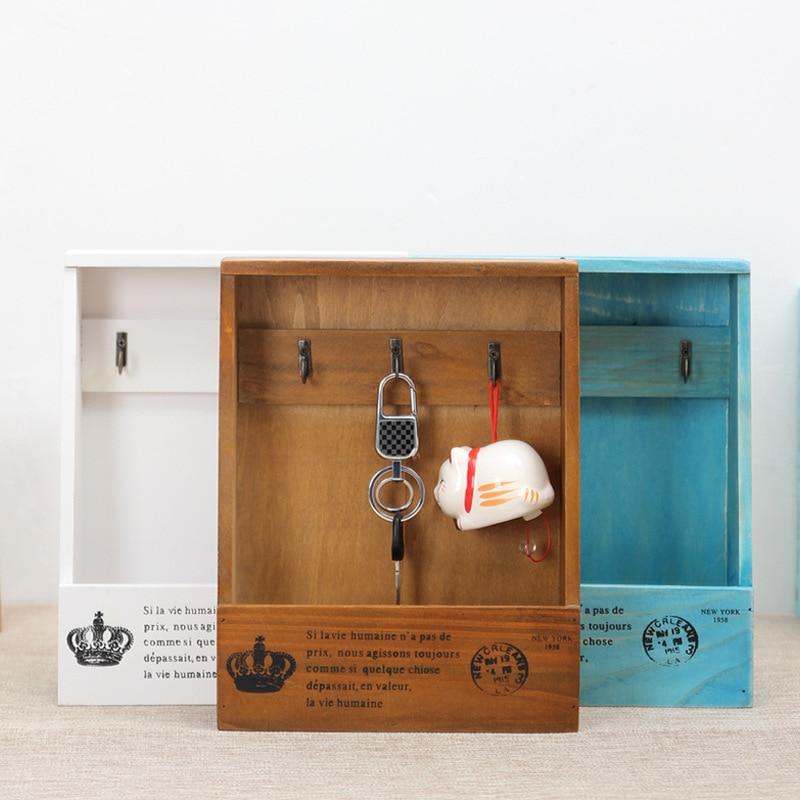Wooden Storage Box Wooden Shelf Holder Wall Hanging Key