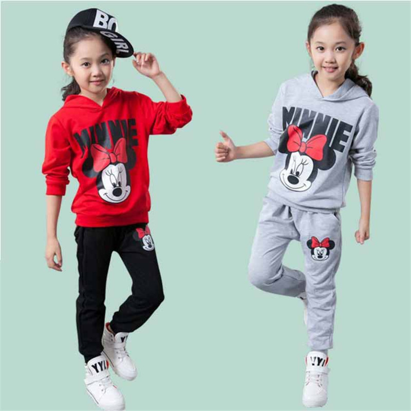 Spring Children Clothing Girls Cartoon Mickey Minnie Mouse Clothing Set Baby Boy Clothes Long Sleeve Hoodies+Pants 2 PCS H0050 new 2014 spring autumn girls cartoon spider man suit boy long sleeve pants clothing set high quality baby kids casual clothing