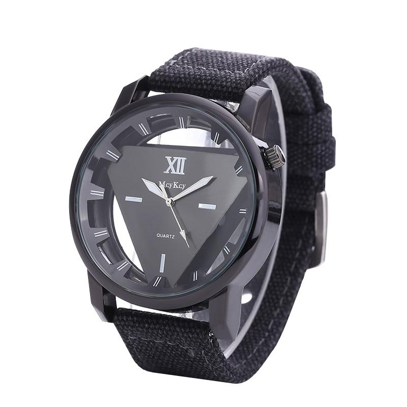 New Fashion Transparent Watches Men Luxury Brand Triangle Hollow Quartz Watch Canvas Strap Unisex WristWatch Relogio Masculino