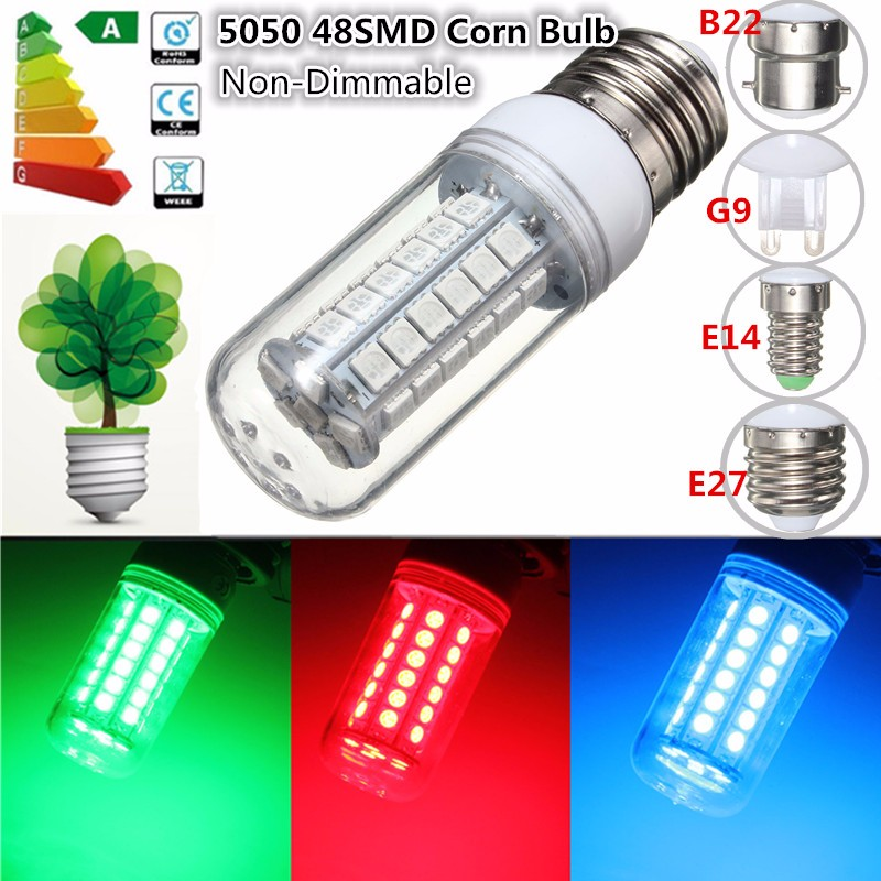 5050 SMD 48 <font><b>LED</b></font> Light Bulb E27/<font><b>E14</b></font>/G9/B22 3.5W Red/Green/Blue 300Lumen Energy Saving Plastic <font><b>Lamp</b></font> Bulb Non Dimmable AC 220V image