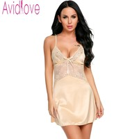 Avidlove Lace Patchwork Nightwear Women Satin Slip Chemises Sexy Lingerie Sleepwear Summer Plus Size Hollow Out Home Dress