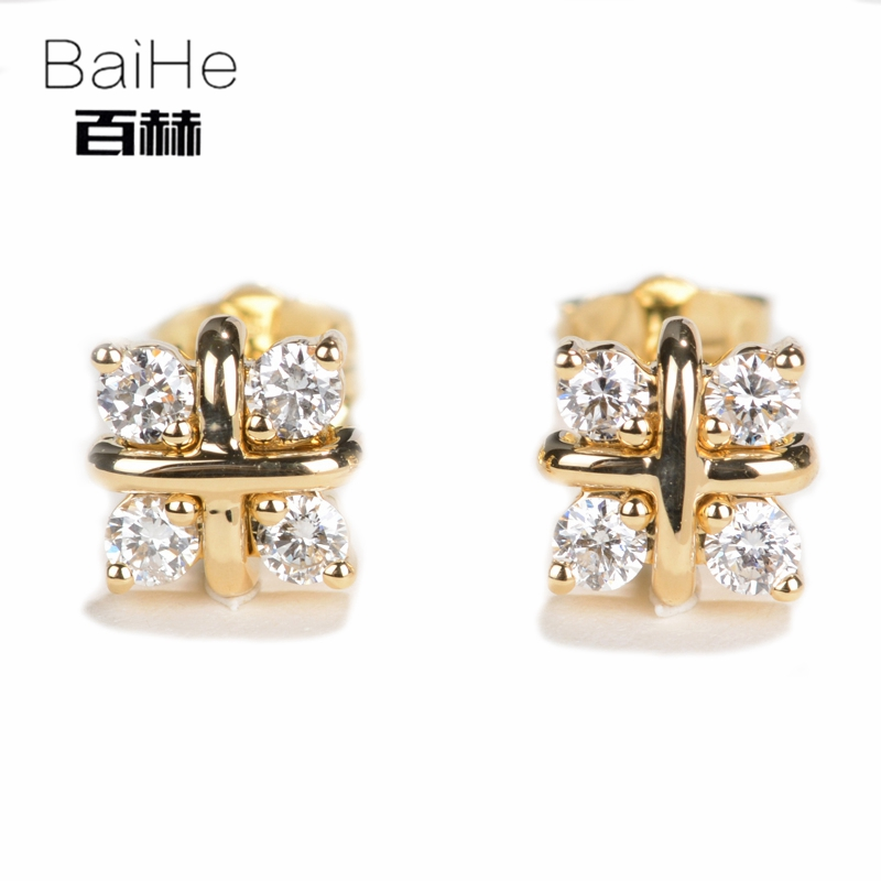 все цены на BAIHE Solid 14K Yellow Gold 0.40CT H/SI Genuine Natural Diamonds Engagement Trendy Fine Jewelry Elegant Unique Stud Earrings онлайн