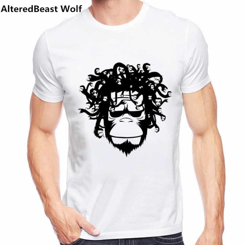 2017 New Arrivals Marca Engraçado Camiseta Homens verão Medusa Versão macaco Engraçado Impresso t-shirt de Manga Curta T Camisas Casuais topos