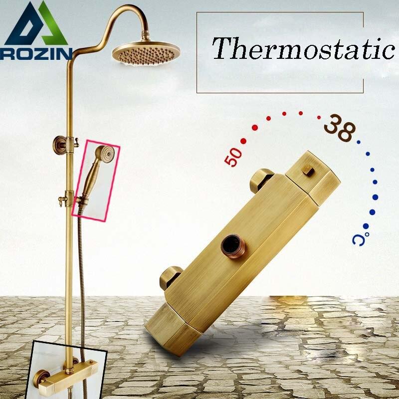 Antique Brass Bathroom Rainfall Thermostatic Shower Set Mixer Tap Outdoor 8