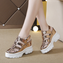 YeddaMavis Women Sandals Gold Print Gladiator Shoes Summer New 5CM Platform High-Heeled Woman Beach Sneakers