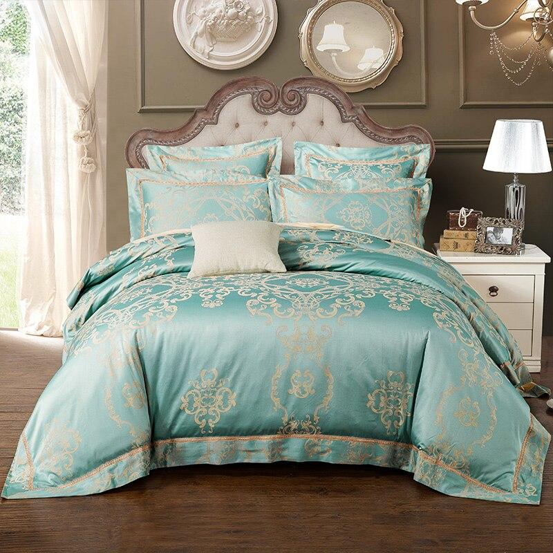 4Pcs Luxury Bedding Set Silk Cotton Blend Lace Duvet Cover Jacquard Pillowcase K